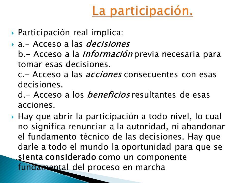 La participación. Participación real implica: