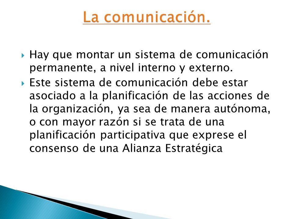 La comunicación.Hay que montar un sistema de comunicación permanente, a nivel interno y externo.