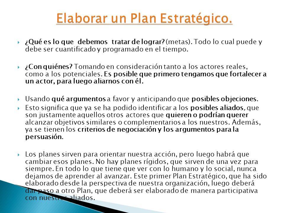 Elaborar un Plan Estratégico.