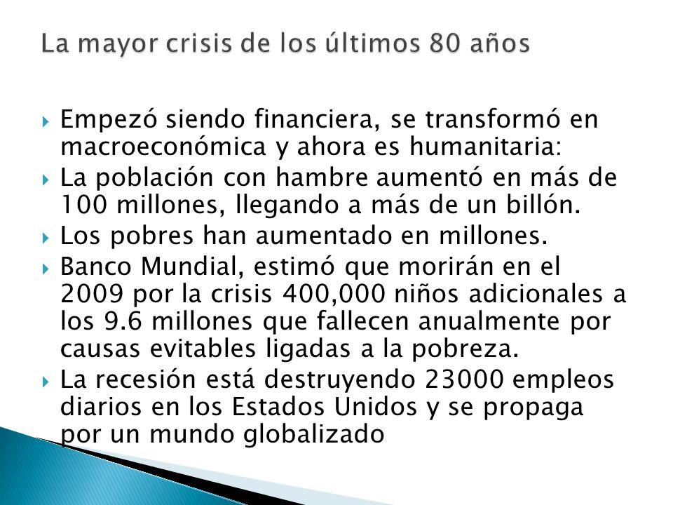 La mayor crisis de los últimos 80 años