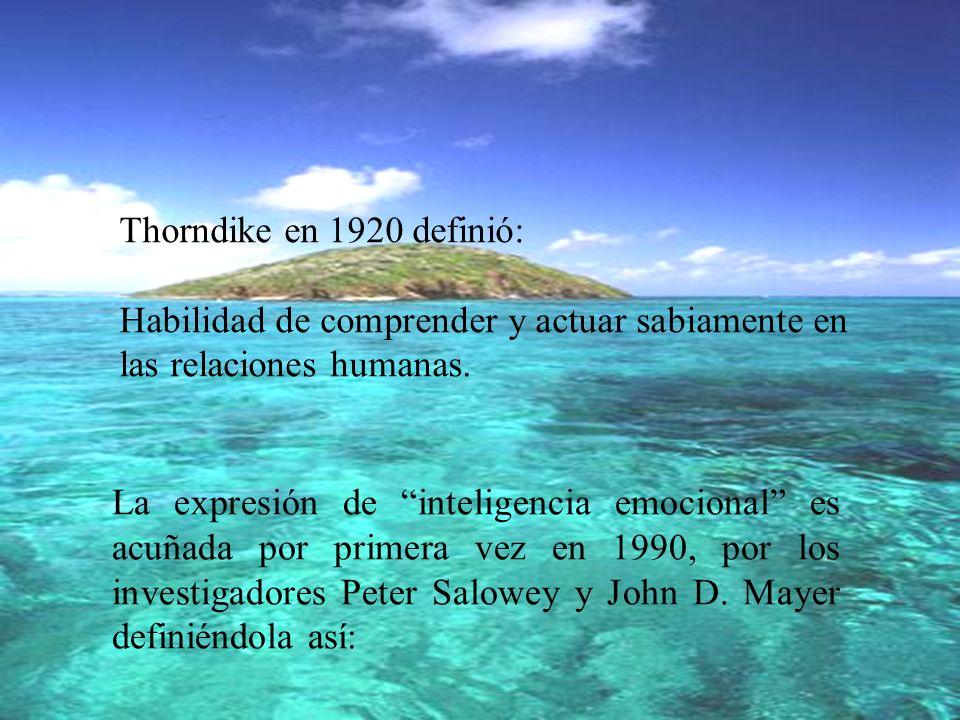 Thorndike en 1920 definió: Habilidad de comprender y actuar sabiamente en las relaciones humanas.