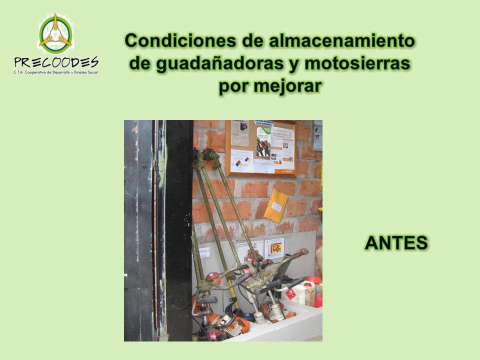 Condiciones de almacenamiento de guadañadoras y motosierras por mejorar