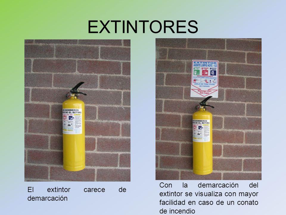 EXTINTORESCon la demarcación del extintor se visualiza con mayor facilidad en caso de un conato de incendio.