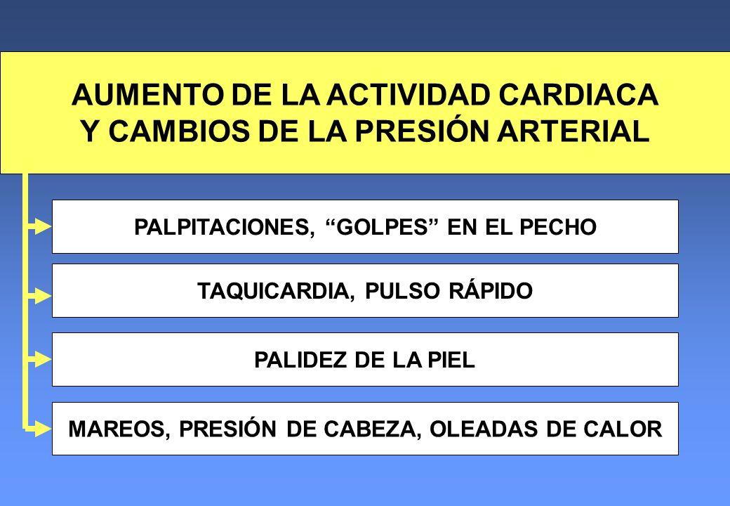 AUMENTO DE LA ACTIVIDAD CARDIACA Y CAMBIOS DE LA PRESIÓN ARTERIAL