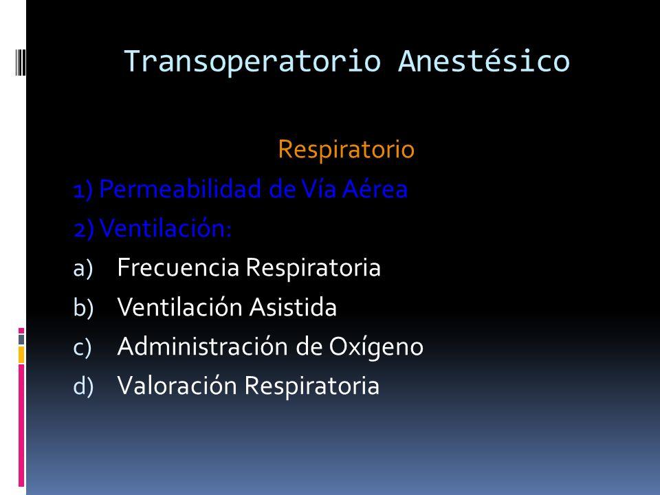 Transoperatorio Anestésico