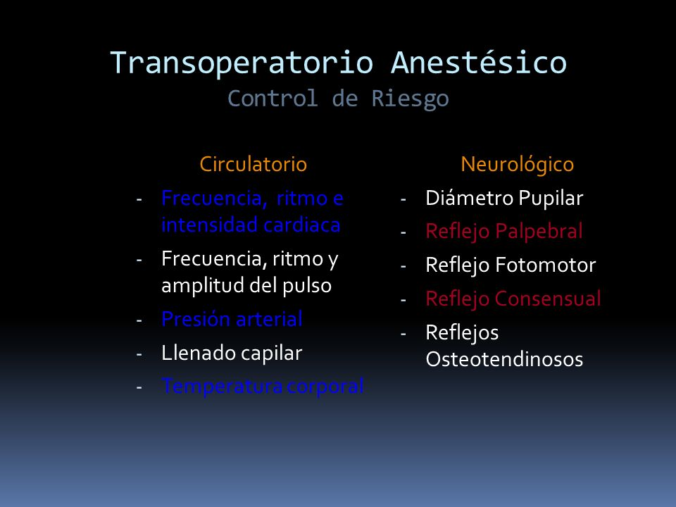 Transoperatorio Anestésico Control de Riesgo