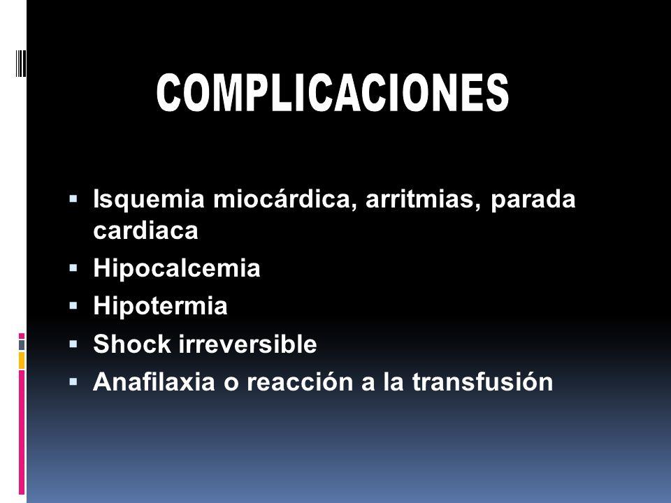 COMPLICACIONES Isquemia miocárdica, arritmias, parada cardiaca