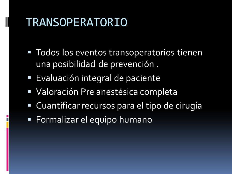 TRANSOPERATORIO Todos los eventos transoperatorios tienen una posibilidad de prevención . Evaluación integral de paciente.
