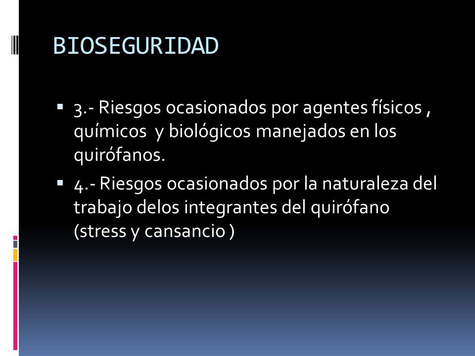 BIOSEGURIDAD3.- Riesgos ocasionados por agentes físicos , químicos y biológicos manejados en los quirófanos.