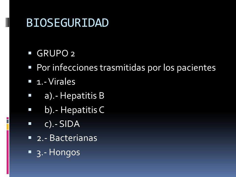 BIOSEGURIDAD GRUPO 2 Por infecciones trasmitidas por los pacientes