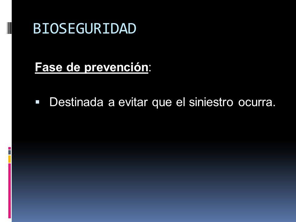 BIOSEGURIDAD Fase de prevención: