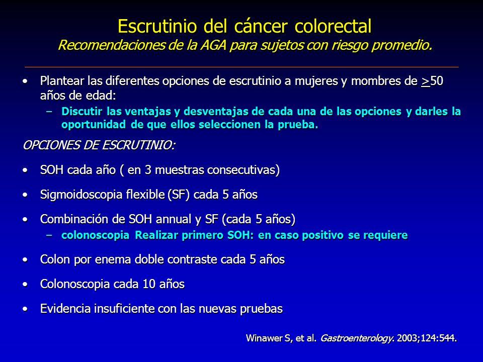 Escrutinio del cáncer colorectal Recomendaciones de la AGA para sujetos con riesgo promedio.