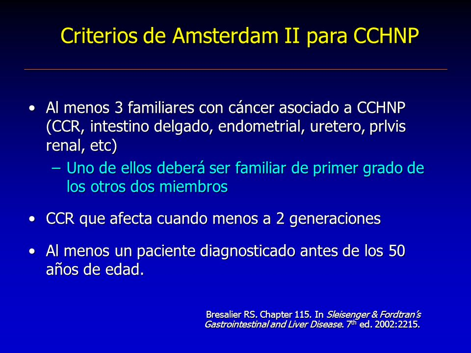 Criterios de Amsterdam II para CCHNP