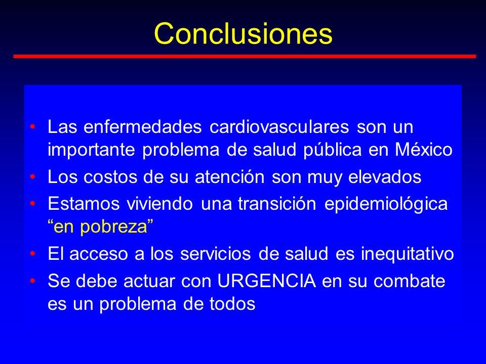 Conclusiones Las enfermedades cardiovasculares son un importante problema de salud pública en México.