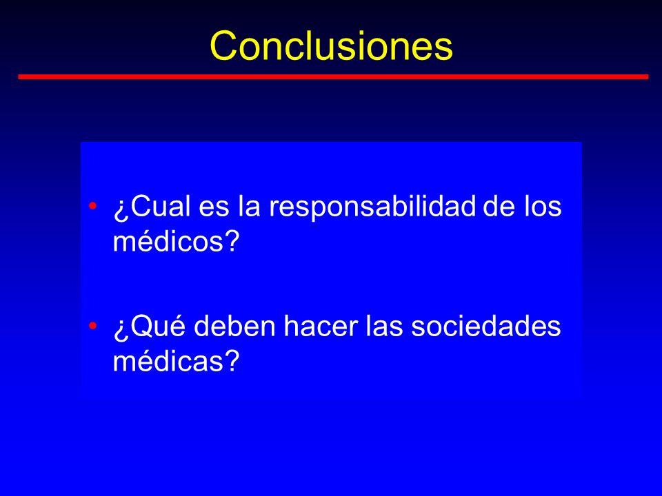 Conclusiones ¿Cual es la responsabilidad de los médicos