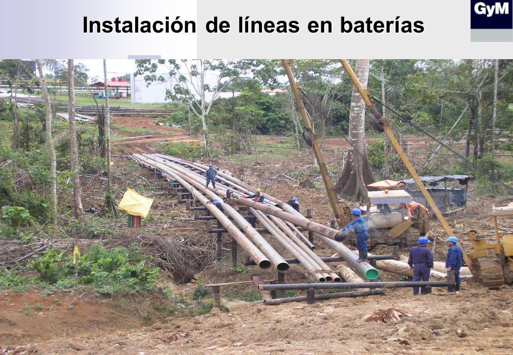 Instalación de líneas en baterías