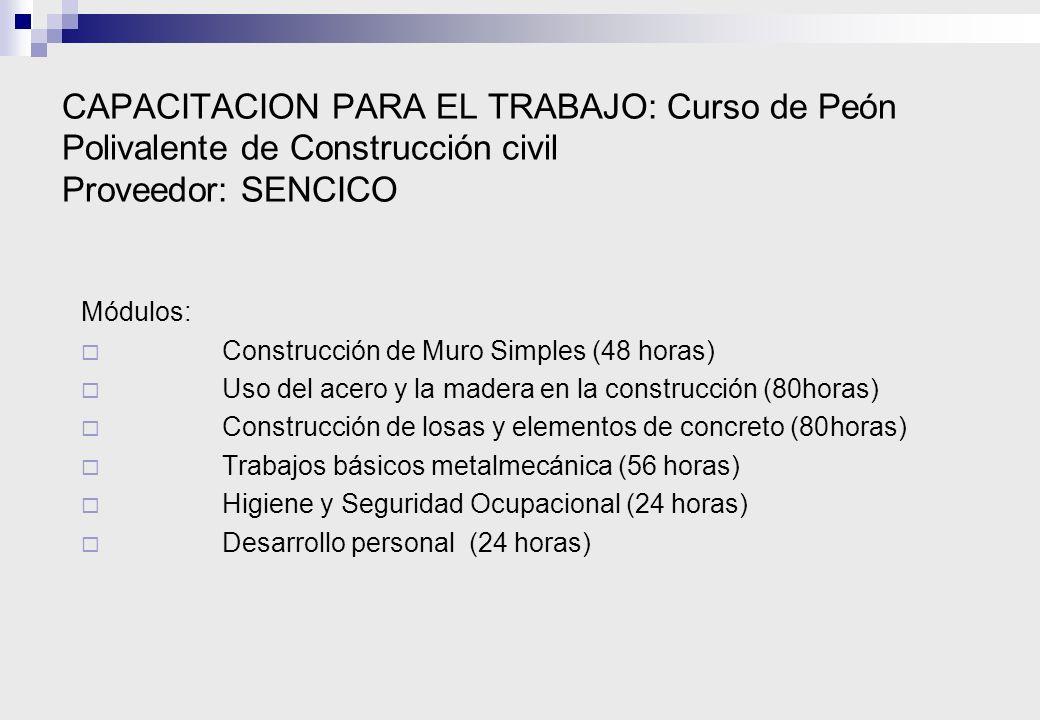 CAPACITACION PARA EL TRABAJO: Curso de Peón Polivalente de Construcción civil Proveedor: SENCICO
