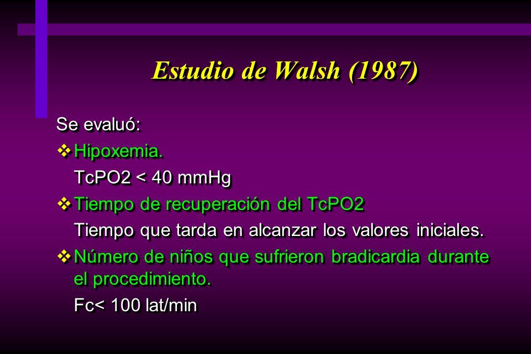 Estudio de Walsh (1987) Se evaluó: Hipoxemia. TcPO2 < 40 mmHg