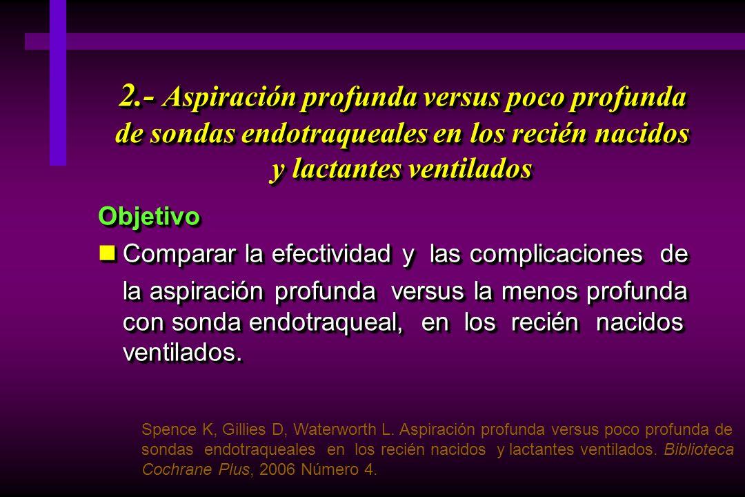 2.- Aspiración profunda versus poco profunda de sondas endotraqueales en los recién nacidos y lactantes ventilados