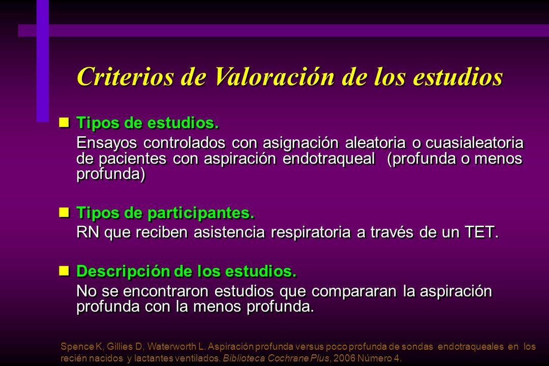 Criterios de Valoración de los estudios