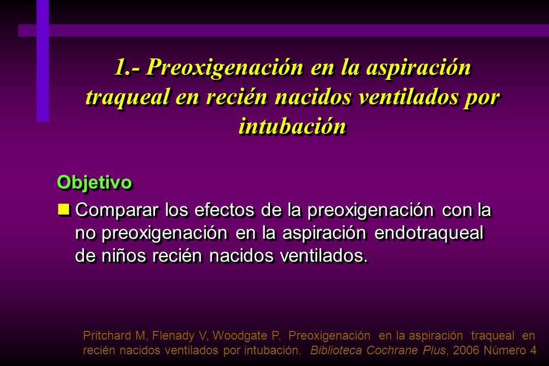 1.- Preoxigenación en la aspiración traqueal en recién nacidos ventilados por intubación