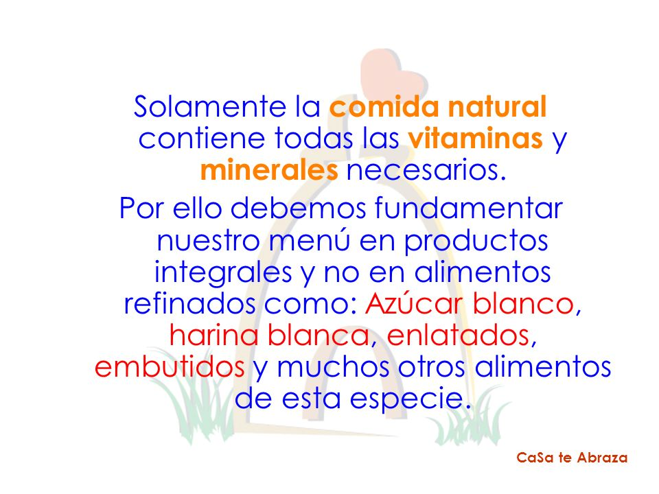 Solamente la comida natural contiene todas las vitaminas y minerales necesarios.