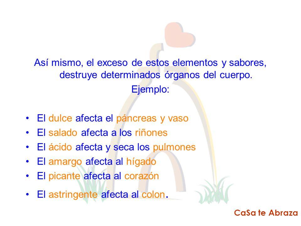 El dulce afecta el páncreas y vaso El salado afecta a los riñones