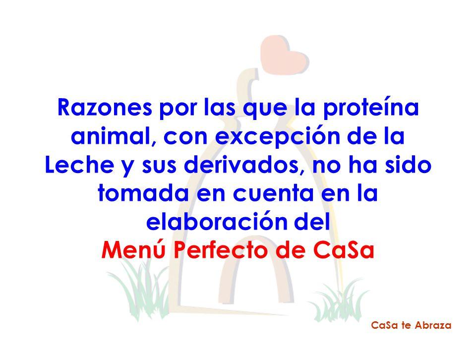 Razones por las que la proteína animal, con excepción de la Leche y sus derivados, no ha sido tomada en cuenta en la elaboración del Menú Perfecto de CaSa