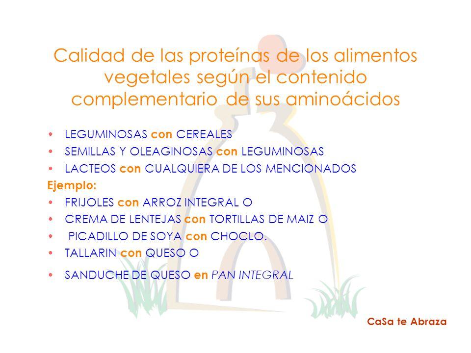 Calidad de las proteínas de los alimentos vegetales según el contenido complementario de sus aminoácidos