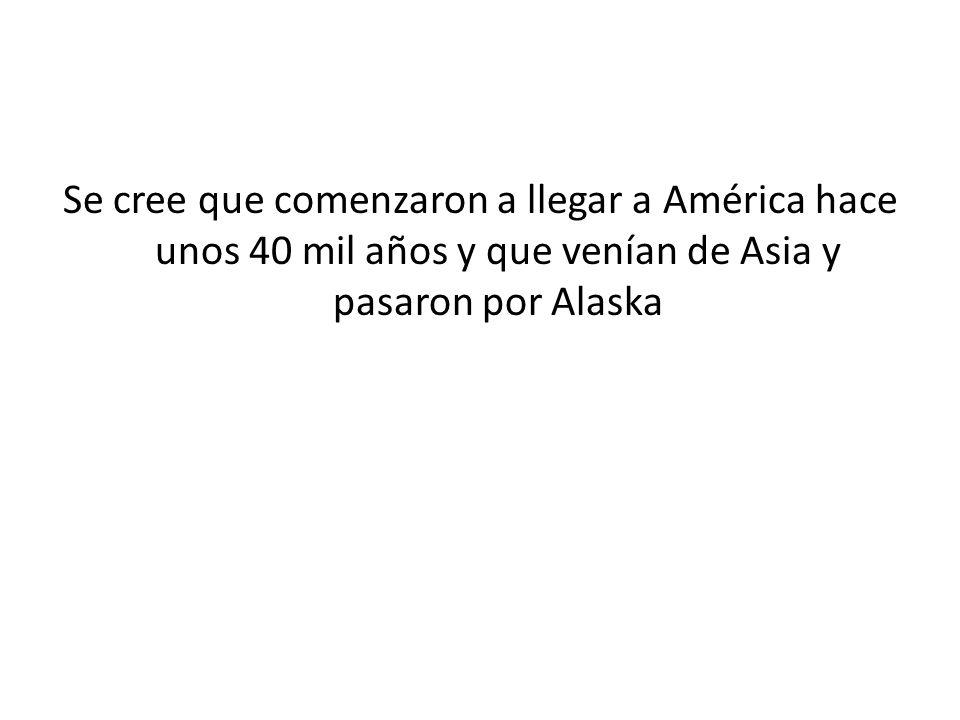 Se cree que comenzaron a llegar a América hace unos 40 mil años y que venían de Asia y pasaron por Alaska