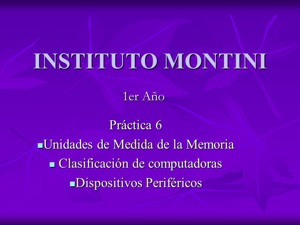 INSTITUTO MONTINI 1er Año Práctica 6 Unidades de Medida de la Memoria