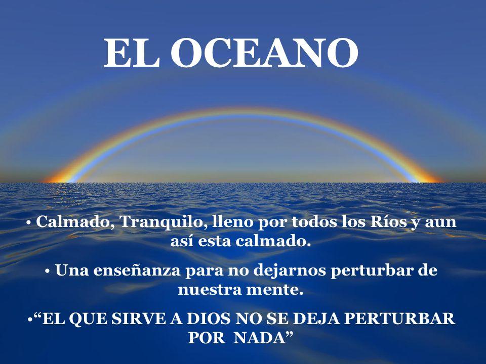 EL OCEANOCalmado, Tranquilo, lleno por todos los Ríos y aun así esta calmado. Una enseñanza para no dejarnos perturbar de nuestra mente.
