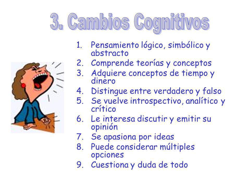 3. Cambios Cognitivos Pensamiento lógico, simbólico y abstracto