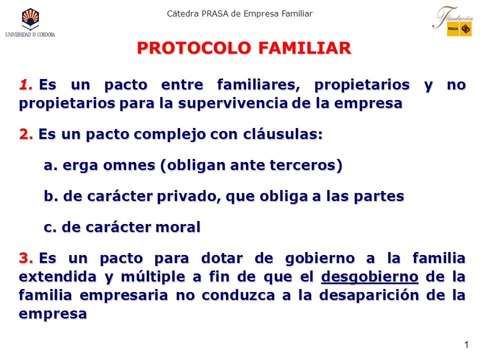 PROTOCOLO FAMILIAR Es un pacto entre familiares, propietarios y no propietarios para la supervivencia de la empresa.
