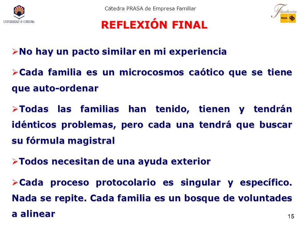 REFLEXIÓN FINAL No hay un pacto similar en mi experiencia