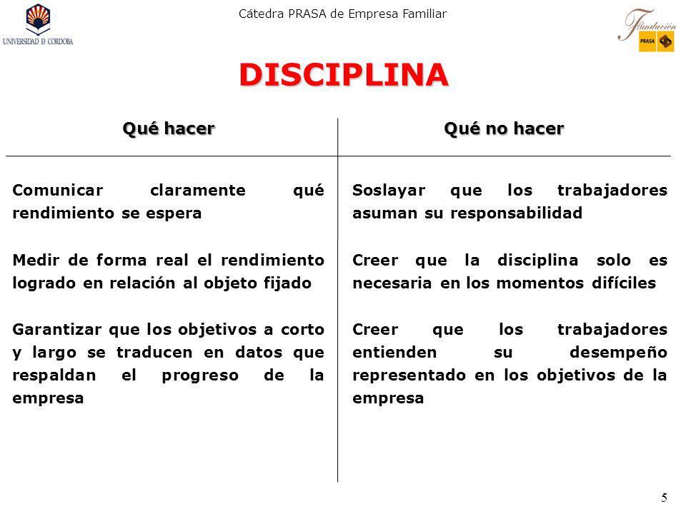 DISCIPLINA Qué hacer Qué no hacer