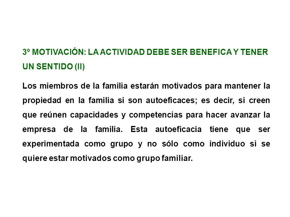 3º MOTIVACIÓN: LA ACTIVIDAD DEBE SER BENEFICA Y TENER UN SENTIDO (II)