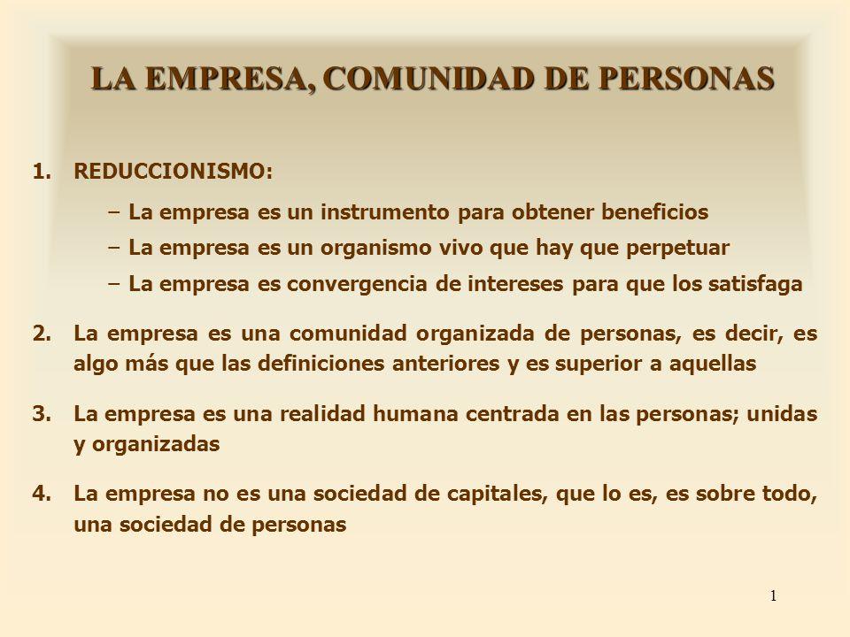 LA EMPRESA, COMUNIDAD DE PERSONAS