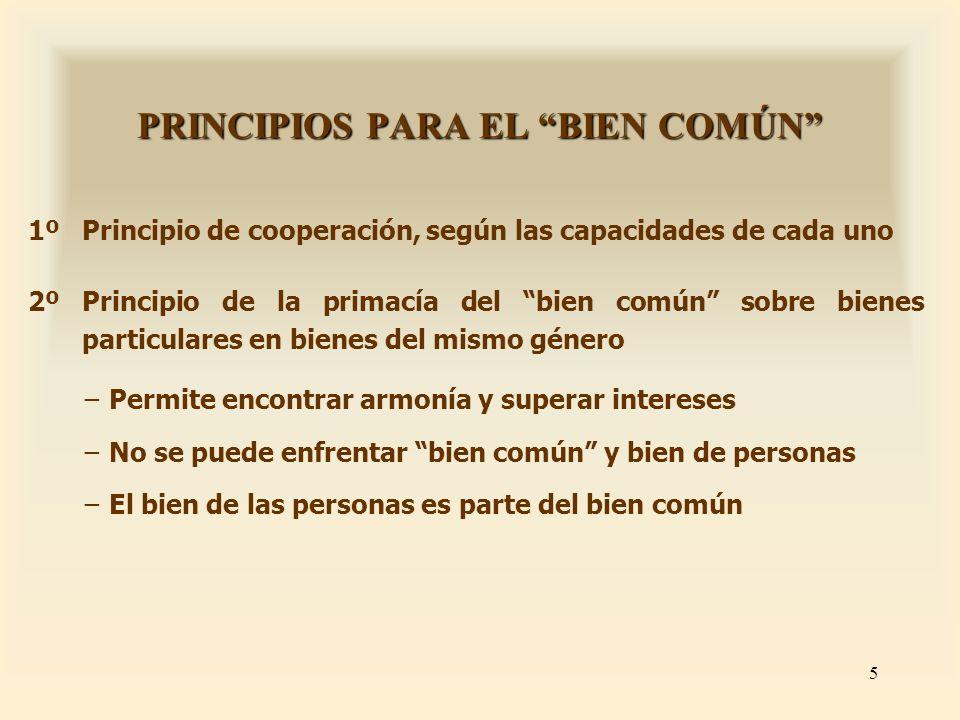 PRINCIPIOS PARA EL BIEN COMÚN