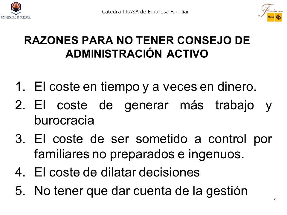 RAZONES PARA NO TENER CONSEJO DE ADMINISTRACIÓN ACTIVO