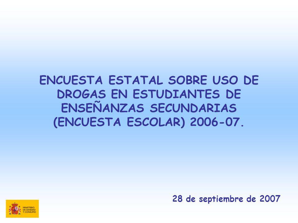 ENCUESTA ESTATAL SOBRE USO DE DROGAS EN ESTUDIANTES DE ENSEÑANZAS SECUNDARIAS (ENCUESTA ESCOLAR) 2006-07.