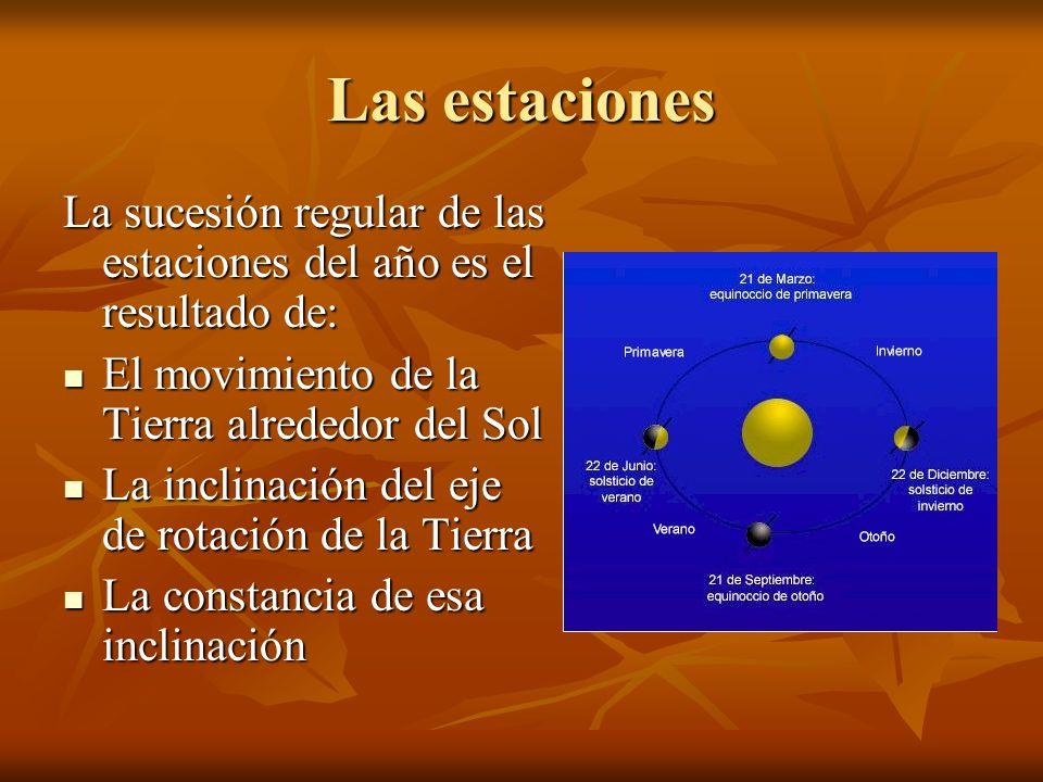 Las estaciones La sucesión regular de las estaciones del año es el resultado de: El movimiento de la Tierra alrededor del Sol.