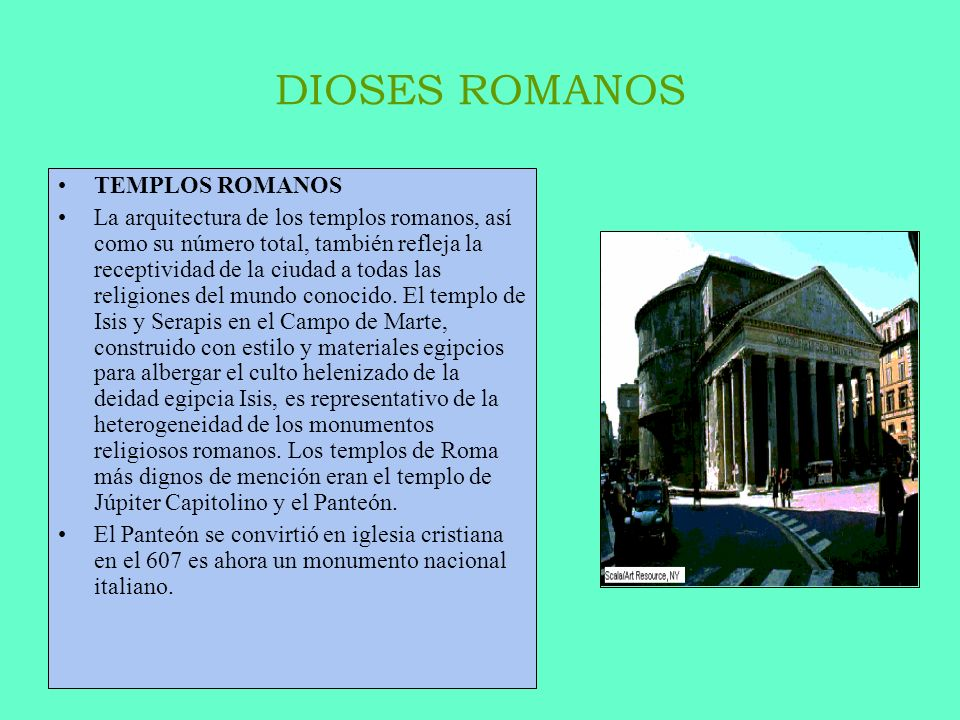 DIOSES ROMANOS TEMPLOS ROMANOS