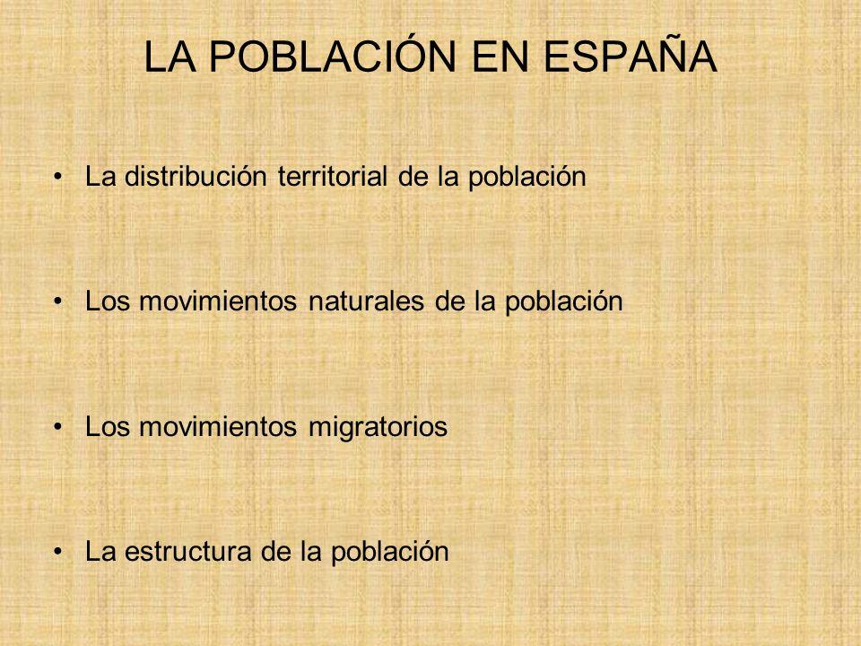 LA POBLACIÓN EN ESPAÑA La distribución territorial de la población