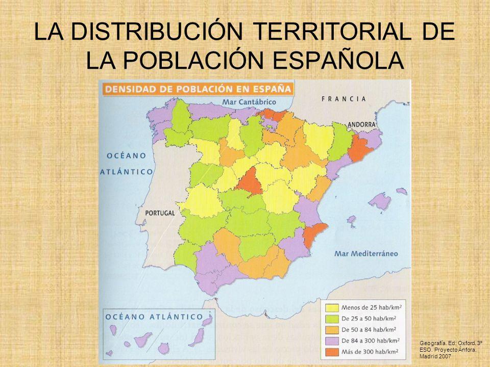 LA DISTRIBUCIÓN TERRITORIAL DE LA POBLACIÓN ESPAÑOLA