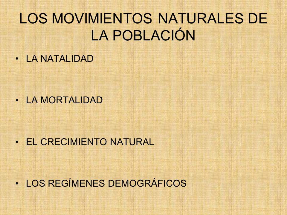 LOS MOVIMIENTOS NATURALES DE LA POBLACIÓN