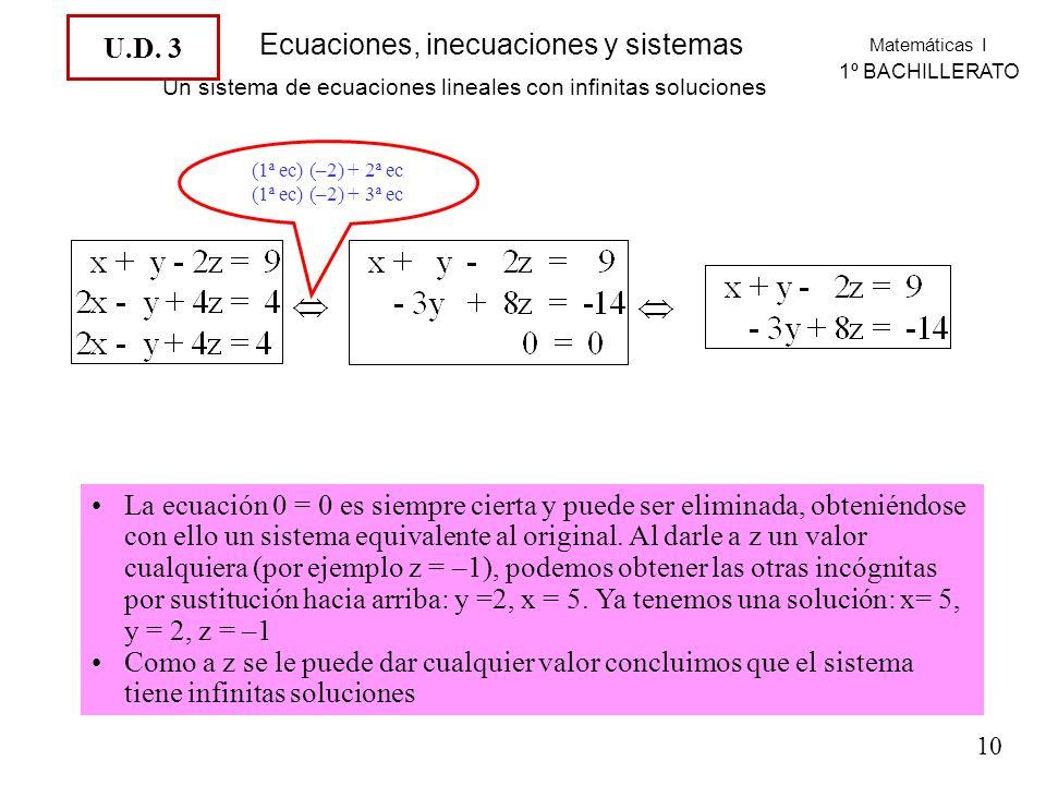 Un sistema de ecuaciones lineales con infinitas soluciones