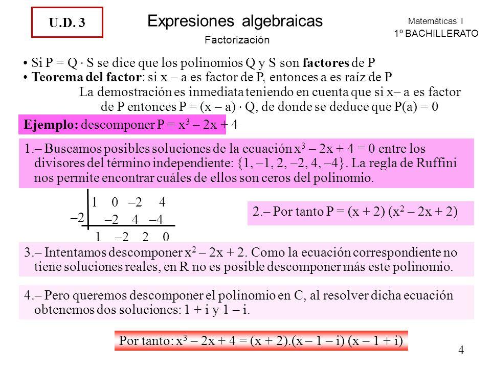 Si P = Q . S se dice que los polinomios Q y S son factores de P
