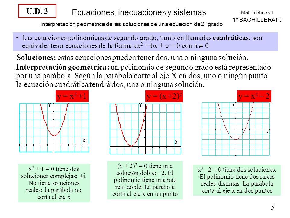 Soluciones: estas ecuaciones pueden tener dos, una o ninguna solución.