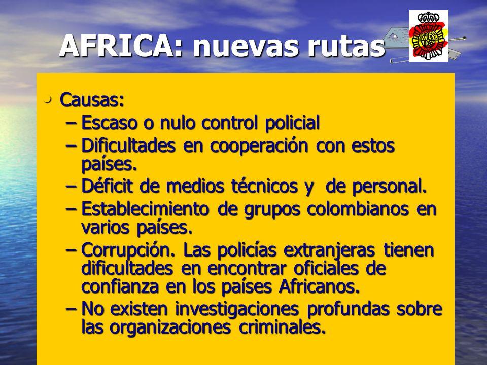 AFRICA: nuevas rutas Causas: Escaso o nulo control policial